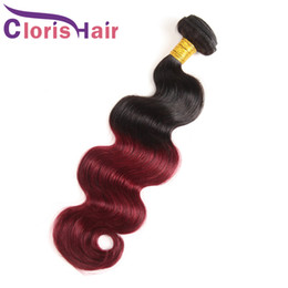Discount brazilian body wave hair burgundy Burgundy Wavy Raw Indian Virgin 1B 99j Ombre Human Hair Weaves Best Two Tone Wine Red Body Wave Ombre Hair Extensions 3 Bundles