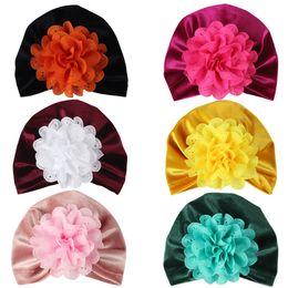 Newborn Flower Hats Australia - 7 colors New newborn hat European and American children's cap gold velvet flower solid color Baby pullover hat Free Shopping