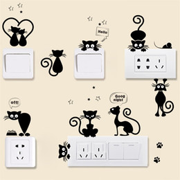 Wholesale Cartoon Animals Pvc Wall Sticker Black Little Cat Diy Removable Art Stickers Eco Friendly Portable Creative Home Decor Switch Paste zy jj