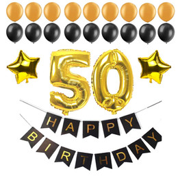 $enCountryForm.capitalKeyWord Australia - New Design 40 50 60 30 Years Old Happy Birthday Paper Bunting Banner Number Foil Latex Balloons Birthday Party Decoration Supplies Black