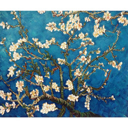 painting vincent van gogh UK - Vincent Van Gogh paintings of Branches of an Almond Tree in Blossom handmade canvas art for bedroom High quality