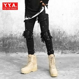 Pencil Fit Trousers For Men Canada - High Street Patchwork Leather Knee Ripped Stretch Jeans Men Slim Fit Pencil Pants for Man Punk Black Long Trousers Men Cowboy