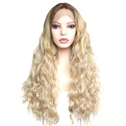synthetic fiber lace wigs UK - Ombre Blonde Synthetic Lace Front Wigs Brown Roots To Blonde Long Loose Wave Synthetic Wig Glueless High Temperature Fiber Hair For Women