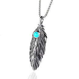 man chain silver gold NZ - Men Feather Pendant Necklaces Stainless Steel Jewelry Gold Silver Color Chain Punk Fashion Best Friend Necklace For Men Gift