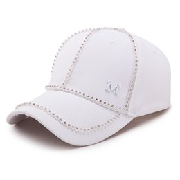 metal letter hats 2019 - Brand Hockey Bone Chapeu Metal Letter M Snapback Hats Fashion Cotton Solid Diamante Baseball Caps Women Men Hip Hop Casq