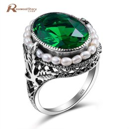 women vintage rings NZ - Genuine 925 Sterling Silver Ring Natural Pearl Vintage Green Stone Crystal Rings Jewelry for Women Wedding New Ring Wholesale Y1891206