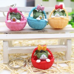 $enCountryForm.capitalKeyWord UK - Cartoon Cute Basket Cat Key Rings Chains Pendant Ornament For bag car Keychain Cheap Party Favor Gift