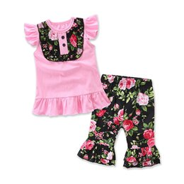 $enCountryForm.capitalKeyWord NZ - Factory Direct Sales Children Boutique Clothes Fashion Baby Girls Floral Pattern Clothing Set Ruffle T-shirt and Pant Suit