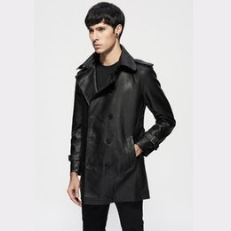 China 2018 spring and autumn new Men thin belt lapel leather windbreaker male long section Korean jackets Mens slim trend Trench coat supplier mens thin leather jackets suppliers