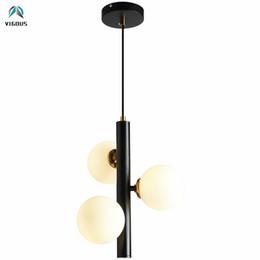 Chandeliers Objective Nordic Vertical 3 Light Glass Globe Lustre Chandelier Sofa Side Luminarias Led Pendant Chandelier Indoor Suspend Lamp Fixtures