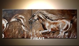 two horse oil painting Australia - 100% handmade good quality contemporary oil paintings abstract horse running oil paintings canvas decoration home unique gift
