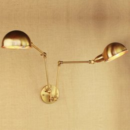 Vintage Swing Arm Wall Lamp NZ - design luxury vintage brass gold double head swing arm Edison Wall lamp E27 led Adjustable Metal Wall Light Fixtures For bedroom
