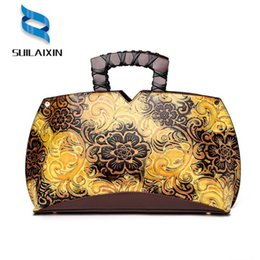 f3ab997b01c3 Women Designer Leather Hobo Bucket Bags Large Embroidery Embossing Printing  retro Floral Handbag Luxury Tote Bag High quality