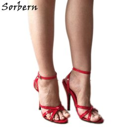 $enCountryForm.capitalKeyWord Australia - wholesale Sexy 12Cm Stiletto Sandals Slingbacks Women High Heel Shoes Unisex Fetish Sandal Sexy Mistress Tie Strap Red Patent