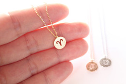astrology pendants NZ - lucky Aries 12 Constellation round Signs Necklace Zodiac amulet Geometric circle Horoscope Astrology Disc Pendant Necklace Jewelry