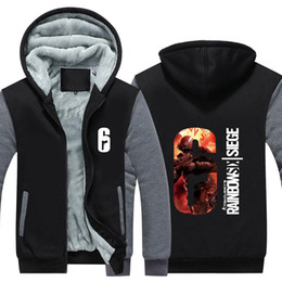 Discount cosplay six - Men Velvet Thicken Hooded Sweatshirts Tom Clancy's Rainbow Six Siege Game Cosplay Zipper Hoodies Winter Cardigan Ja