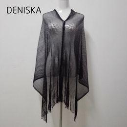 Vente en gros DENISKA 2018 Printemps Rock Style Argent Métallique Brillant Résille Poncho Écharpe Châle Femmes Sexy D'été Or Sequin Fringe Poncho