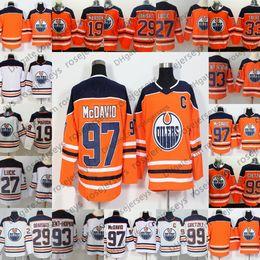 e19ec7dc2 Edmonton Oilers  99 Wayne Gretzky 97 Connor McDavid 27 Milan Lucic 19  Patrick Maroon 2018 Orange White Kids Men Youth Women Hockey Jersey