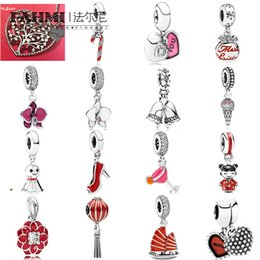 ice flags Canada - FAHMI 100% 925 Sterling Silver 1:1 Charm Silver Hanging Pink You & Me Dangle White Enamel Pendant Ice Cream Pendant Merry Christmas Bauble