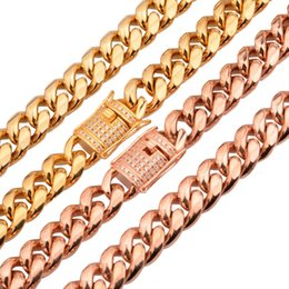 Discount rose gold miami cuban chain 14mm New Jewelry 316L Stainless Steel Gold Rose Gold Jewelry Miami Cuban Curb Link Chain Mens cz Clasp Chain Necklace