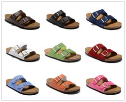 Discount genuine leather soft moccasins - 2018 sandals Cork Slide Fashion Sandal Slippers Green Red White Men flats Women Classic Ladies Summer print mixed Flip F