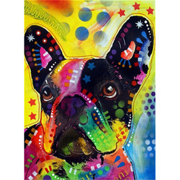 Color Diy Painting Australia - Painted color dog full square diamond cross stitch 5D DIY diamond painting embroidery 3D photo rhinestone mosaic home decoration gift