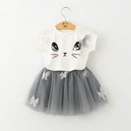 summer cat suits NZ - 2018 baby Summer girls clothing set Cartoon Cat T shirt Yarn TUTU lace Skirt Children kids clothes suits Fashion toddler clothes