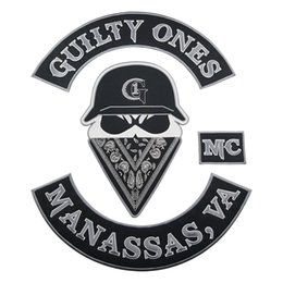 Bikers Back Patches Australia - GUILTY ONES MC Club Biker Vest Embroidered Patch Full Back Large Pattern For Rocker Iron on Patches for clothing Free Shipping