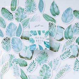 Discount diary stickers labels - 45 pcs lot Plants Green Leaves mini paper sticker decoration DIY ablum diary scrapbooking label sticker kawaii stationer