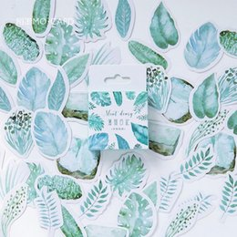 Wholesale 45 Plants Green Leaves mini paper sticker decoration DIY ablum diary scrapbooking label sticker kawaii stationery