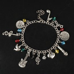 music note bangle NZ - MQCHUN 2017 New Fashion Exquisite Design Prince Charms Bracelets Music Note Sing Guitar Microphon Bracelets&Bangles For Women