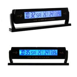 digital temperature car 2019 - 2018 Auto Black Car Clock Voltage Digital LCD Car Temperature Thermometer Alarm Clock New Drop Shipping Wholesale Hot ch