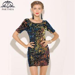 Parthea Women Half Sleeve Colorful Sequin Dress Metallic Sexy Party Dress  Blackless Spring Velvet Bodycon Dresses Vestidos 2018 9db8538f1dfb