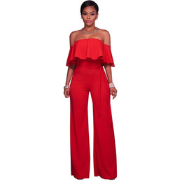 China New Women Off the Shoulder Wide Leg Jumpsuit Ruffles Half Sleeves Waist Strap Sexy Ladies Casual Loose Playsuit for Women Romper cheap shoulder waist jumpsuit suppliers