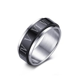 Vintage Cluster Rings Australia - Vintage Rotatable Ring Black Color Stainless Steel 8mm Roman Digit Numerals Rings of Lord for Male Biker Fashion Finger Jewelry