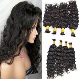 Bulk Hair Braids NZ - Stock Human Hair Braids Bulk natural Wave No Weft Wet And Wavy Braiding Bulk Hair Water Wave Brazilian Peruvian Malaysian Hair 3 or 4pcs