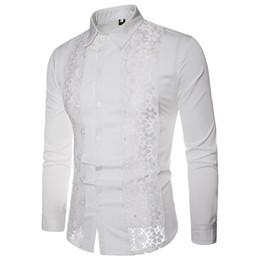 8c0480c0fcd Slim Fit Shirt Men Long Sleeve White black Lace Design Cotton Dress Shirts  Socia Business Casual Mens Shirts Large Size S-XXL