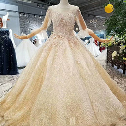 $enCountryForm.capitalKeyWord Australia - 2019 Golden Lace Shiny Evening Dresses O Neck See-Through Back Lace Up Crystal Prom Dresses With Sleeves Latest Design Girl Pageant Dress