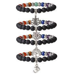 China Unisex Buddhism Lava Rock Stone Lotus Bracelets Men Healing Balance Reiki 7 Chakra Bracelet Buddha Yoga Meditation Charm Jewelry cheap meditation set suppliers