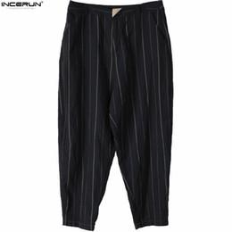 ankle length capris 2019 - INCERUN Stylish Stripe Men Casual Pants Hiphop Harem Ankle-Length Wide Legs Trousers Jogger 5XL Plaid Black Male Bottom