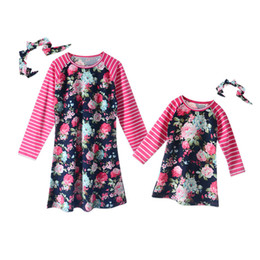stripe clothes mom UK - Fashion mom and kids stripe floral family matching outfits Baby Girls clothes dress mother daughter Children dress