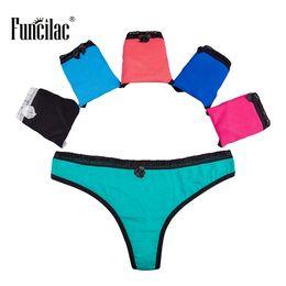 0ab864a2847d78 FUNCILAC Underwear Woman Thong Sexy Lace Panties Briefs For Women Pure  Color Underpants Cotton Lingerie M L XL 5 Pcs Lot