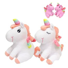 Discount cute ponies cartoon - 20cm Sitting Cute Plush Unicorn Doll Cartoon Animation Model Stuffed Pony Pillow Toy Party Favor For Children Smooth Fee