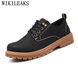leather work oxfords for men 2019 - Classic Men Shoes Formal Wedding Dress Oxfords Shoes For Men Retro Suede Leather Black Platform Work discount leather wo