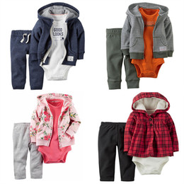 75b529119 Clothing Set for Boy and Girl 3 pcs carter bebes Long Sleeve Bodysuit+Coat+ Long Pants for winter Baby Set for 6m to 24m Y18100905