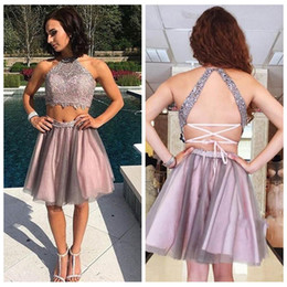 d34ef379f0c 2018 Two Pieces Halter Neck Tulle Homecoming Dresses Mini Short 8th Grade  Graduation Party Dresses A Line Vestido De Fiesta