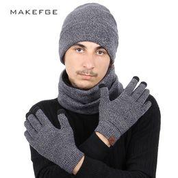 Black Scarves Gloves Sets NZ - Fashion 3 Pieces Set Women Winter Hat And Gloves Sets Cotton Unisex Hat Scarf Gloves Set Solid And Scarf For Men Women