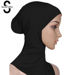 Chinese  Senza Fretta Muslim Cotton Hijab Cap Islamic Head Wear Hat Women Head Scarf Cotton Under Scarf Hijab Cover Wrap L10534 manufacturers