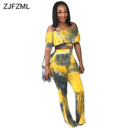 Discount matching ties set - ZJFZML Tie Dye Printed Sexy 2 Piece Matching Set Women Slash Neck Ruffles Crop Top And Long Bodycon Flare Pant Two Pcs O