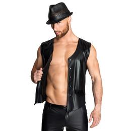 Stage Shirts Australia - fashion man lingerie sex Teddies & Bodysuits latex top tank gay mens plus size nightclub bar stage pu tank shirt